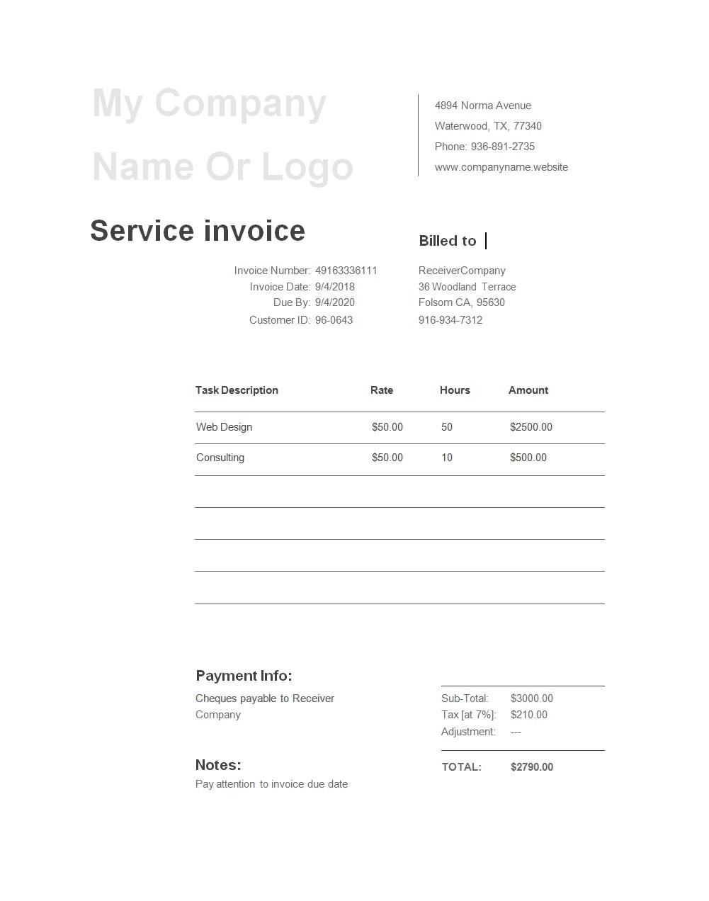 service invoice template 20
