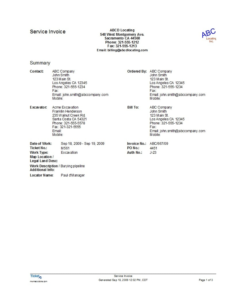 service invoice template 21