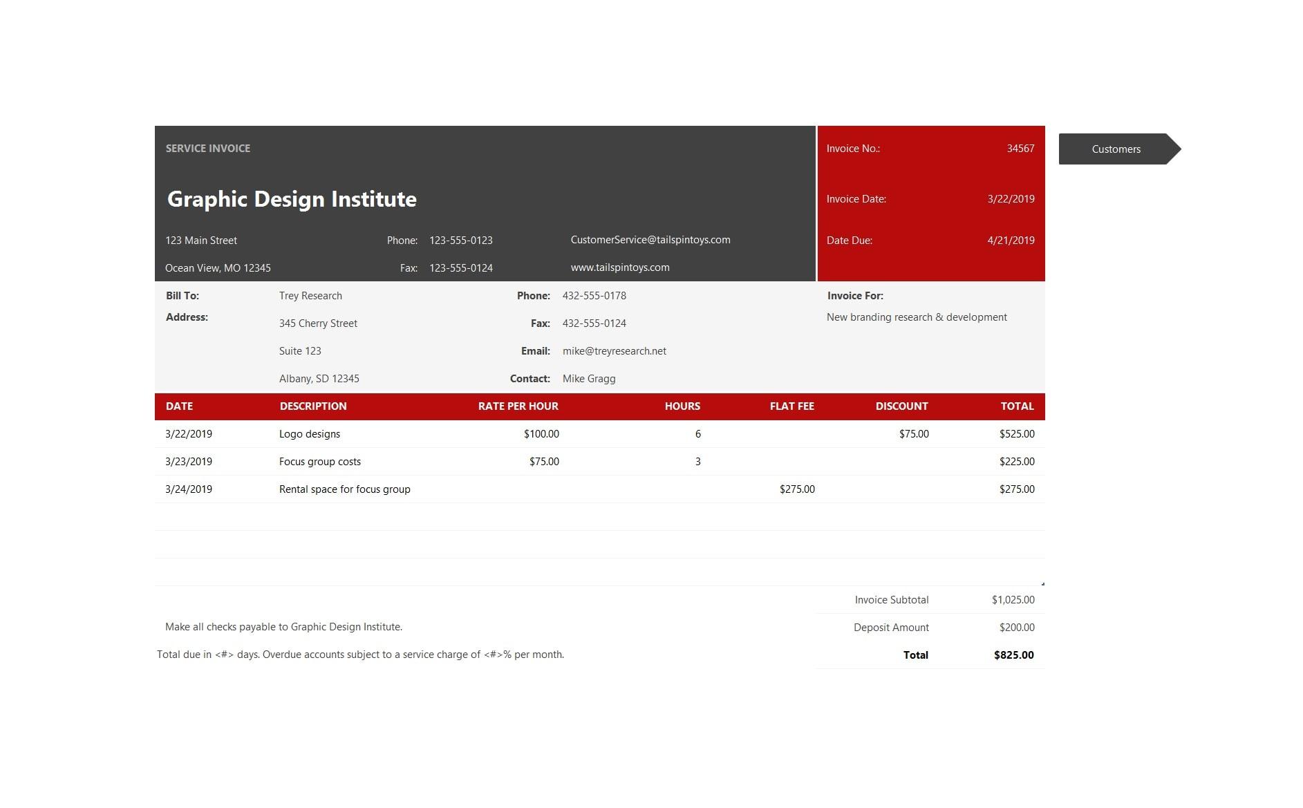 service invoice template 34