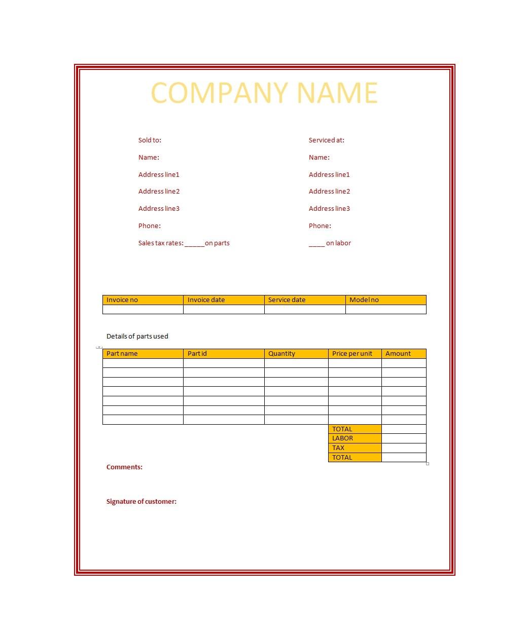 service invoice template 44