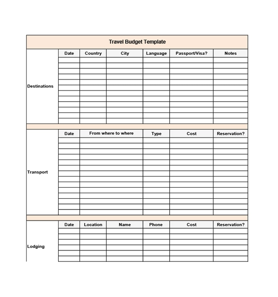 travel budget template 13