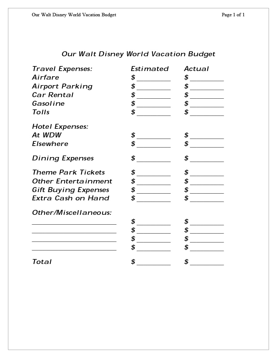 travel budget template 20