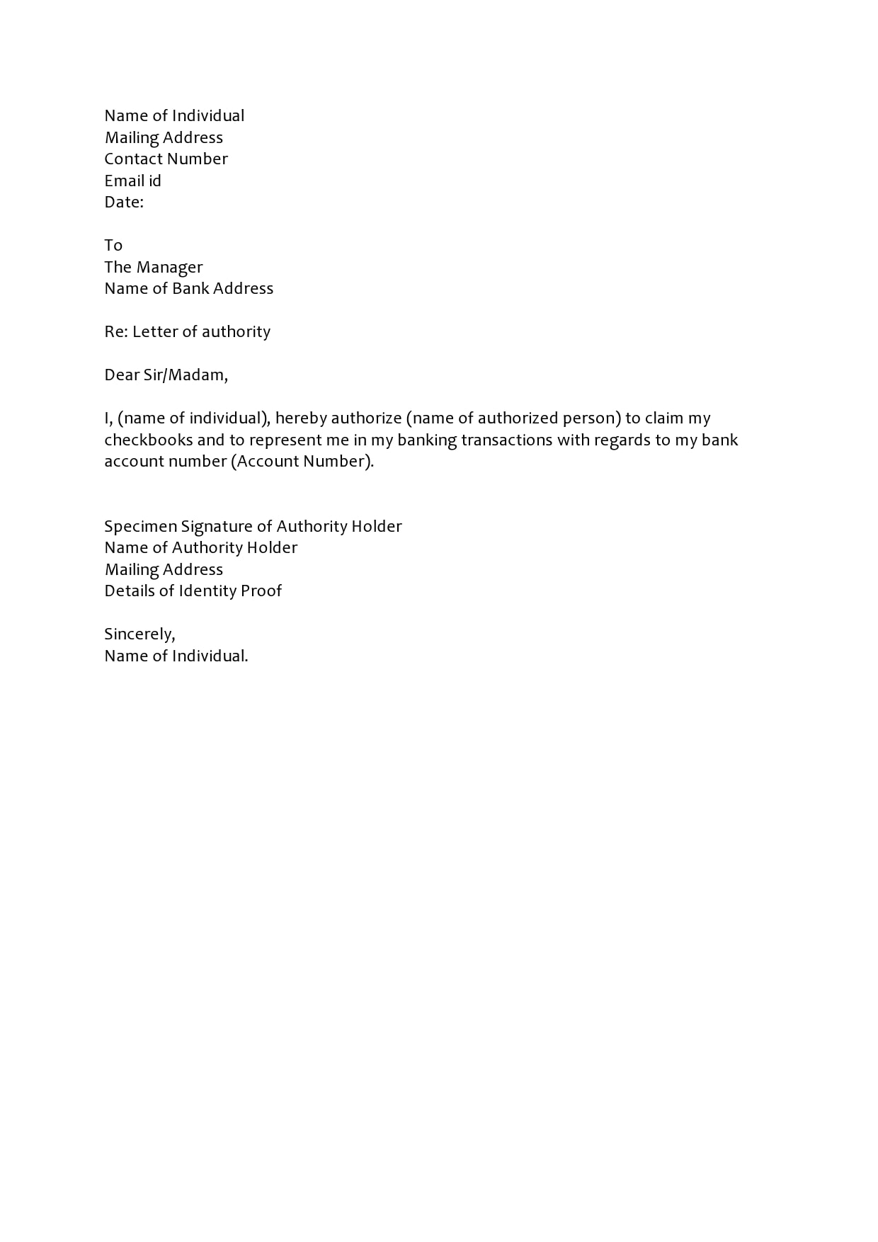 Sample Letter Of Authorization from templatearchive.com
