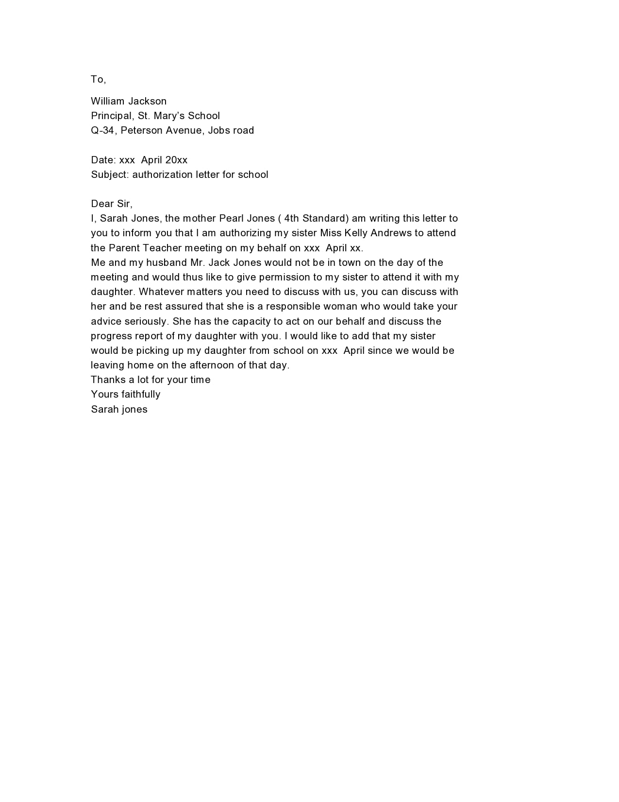 Sample Letter Of Authorization To Represent from templatearchive.com