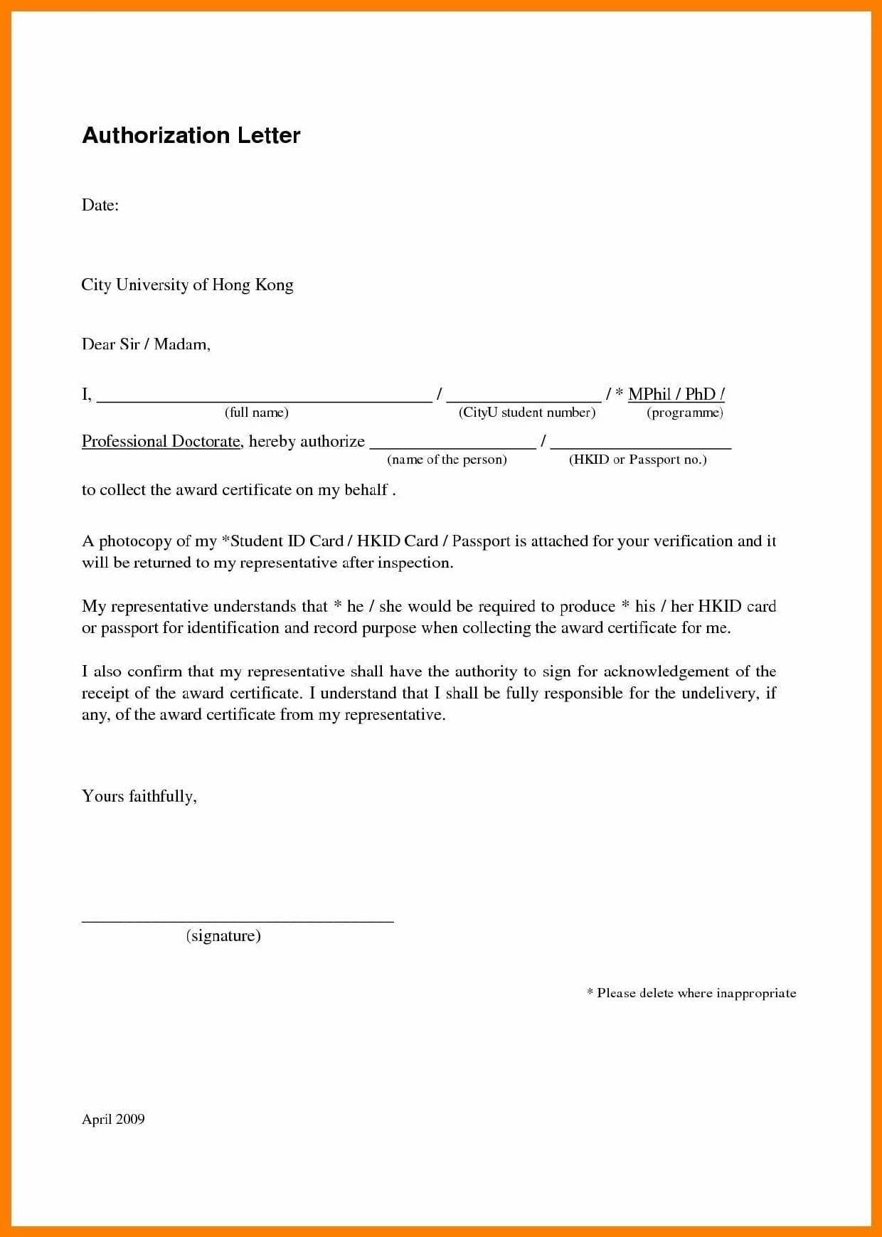 Authorization Letter For Passport Collection from templatearchive.com