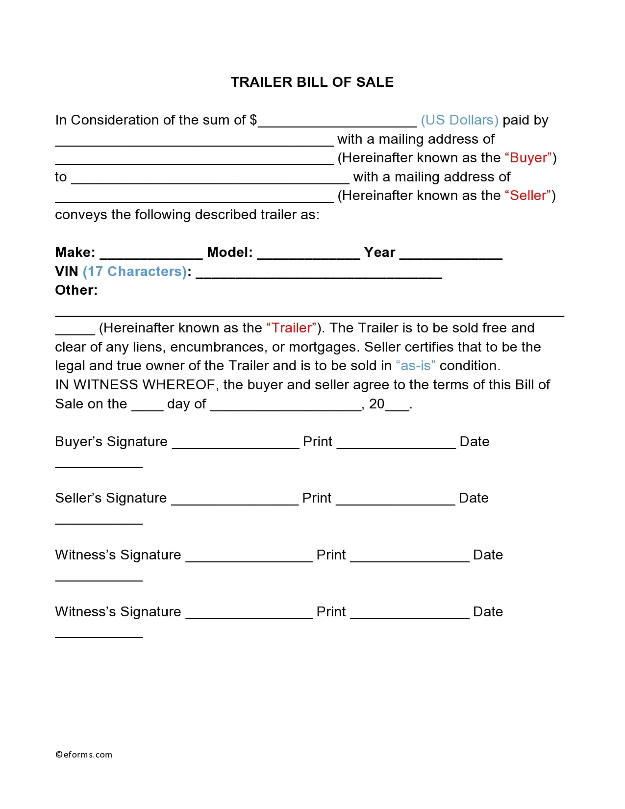 bill of sale for trailer 01
