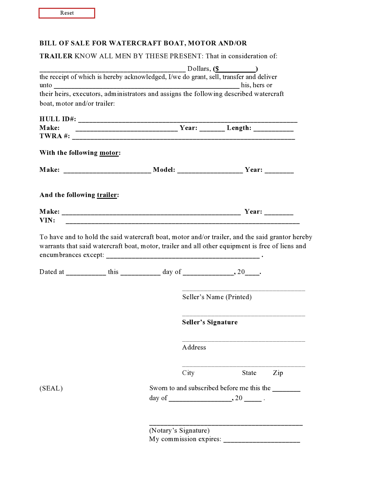 bill of sale for trailer 02
