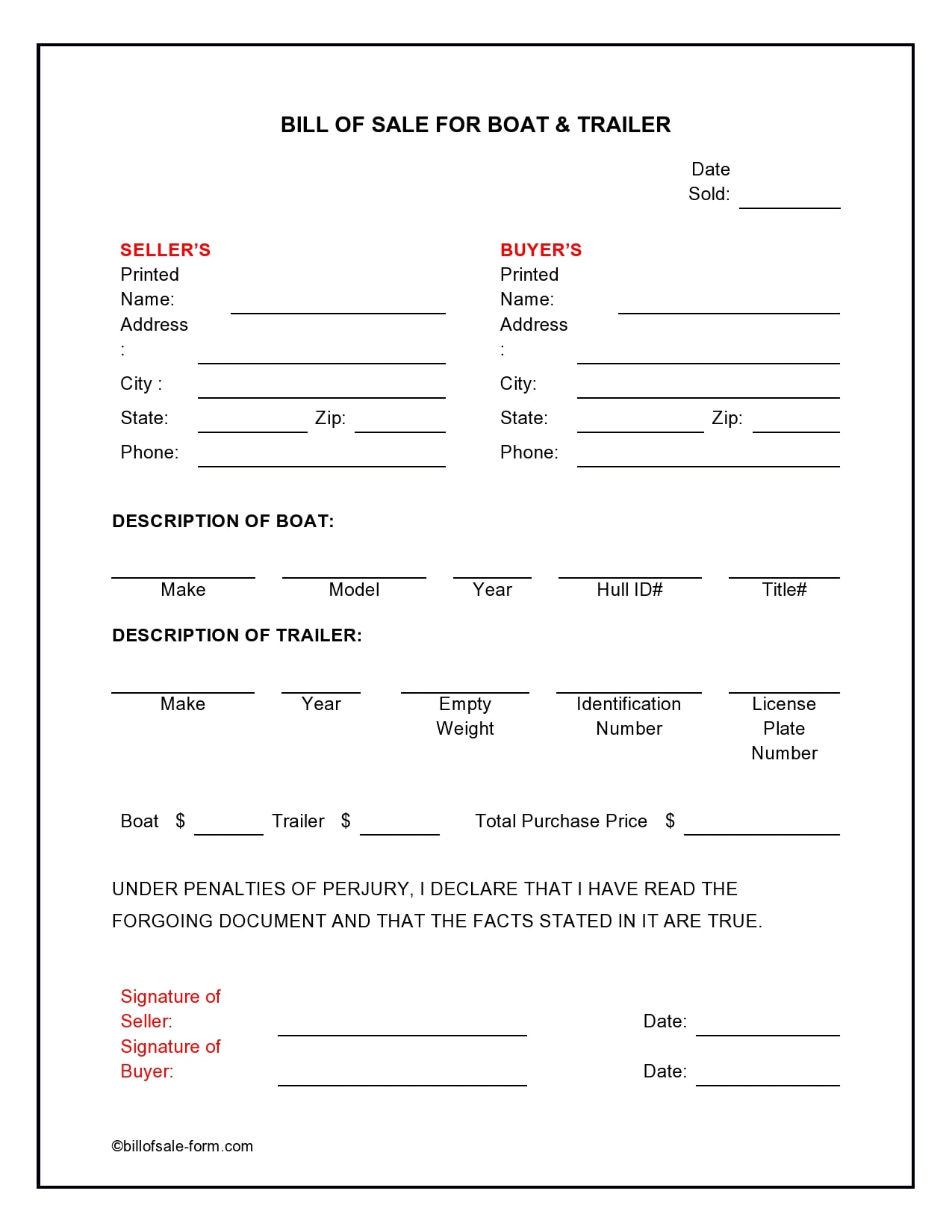 bill of sale for trailer 03