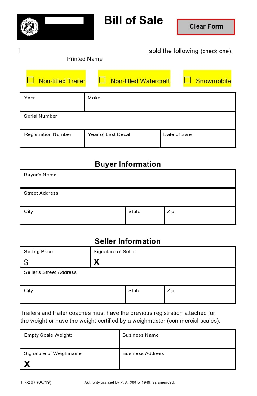 bill of sale for trailer 10