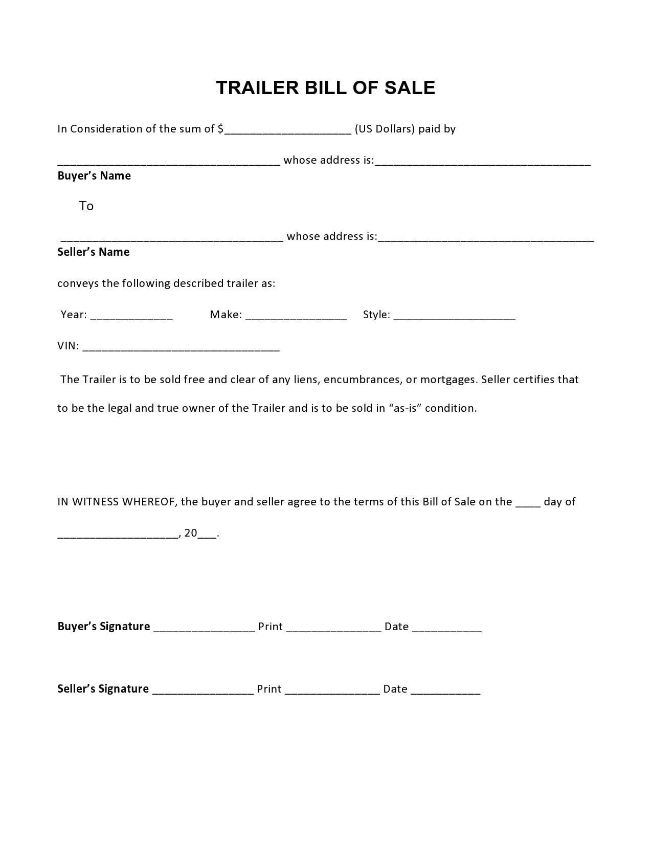bill of sale for trailer 18