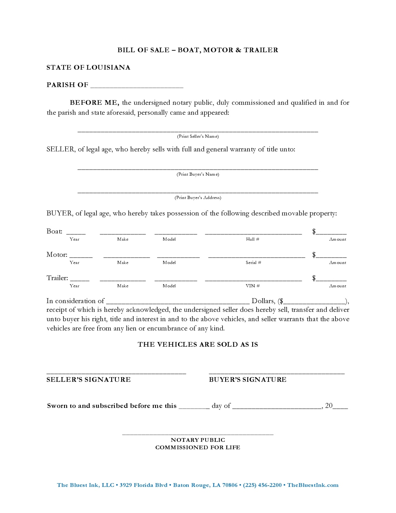 bill of sale for trailer 22