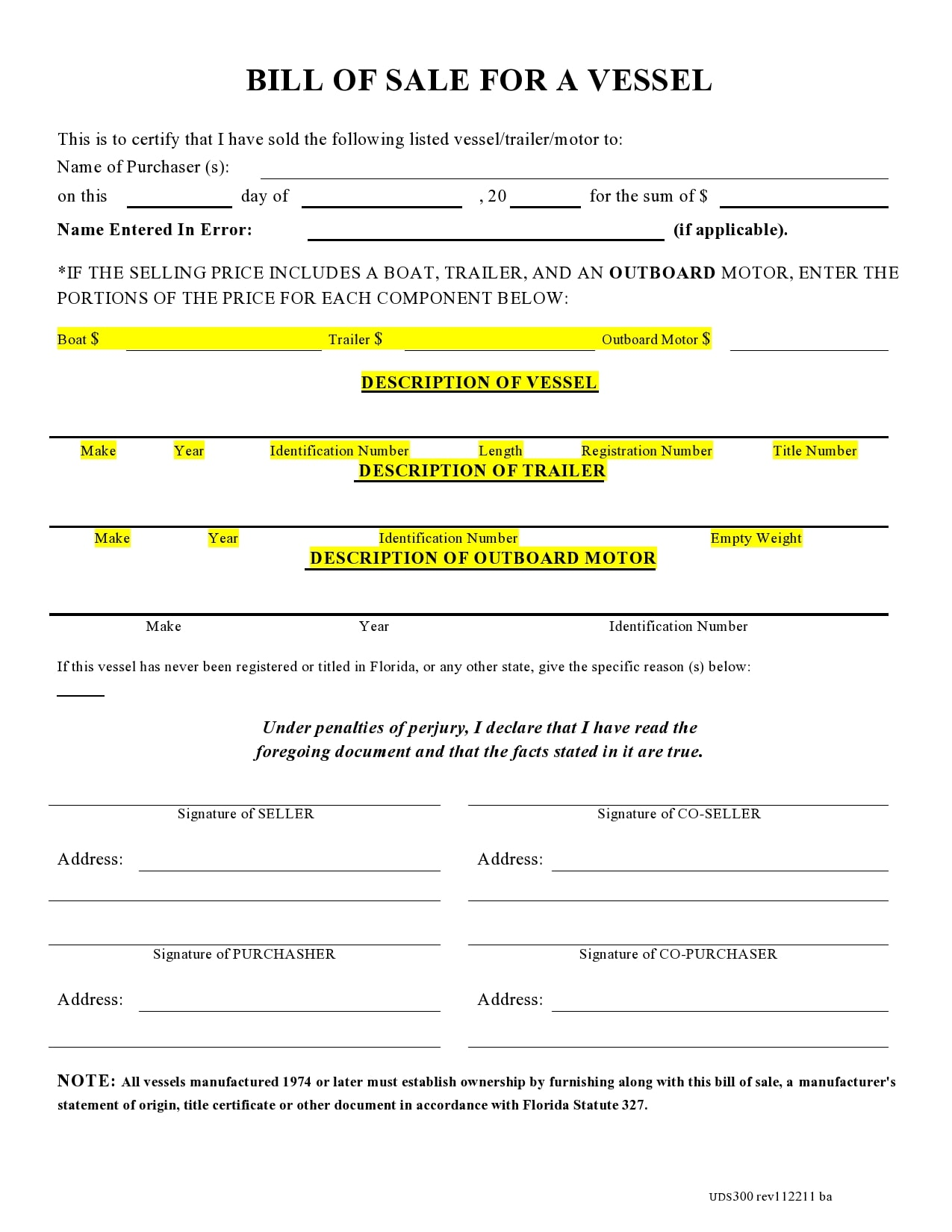 bill of sale for trailer 24