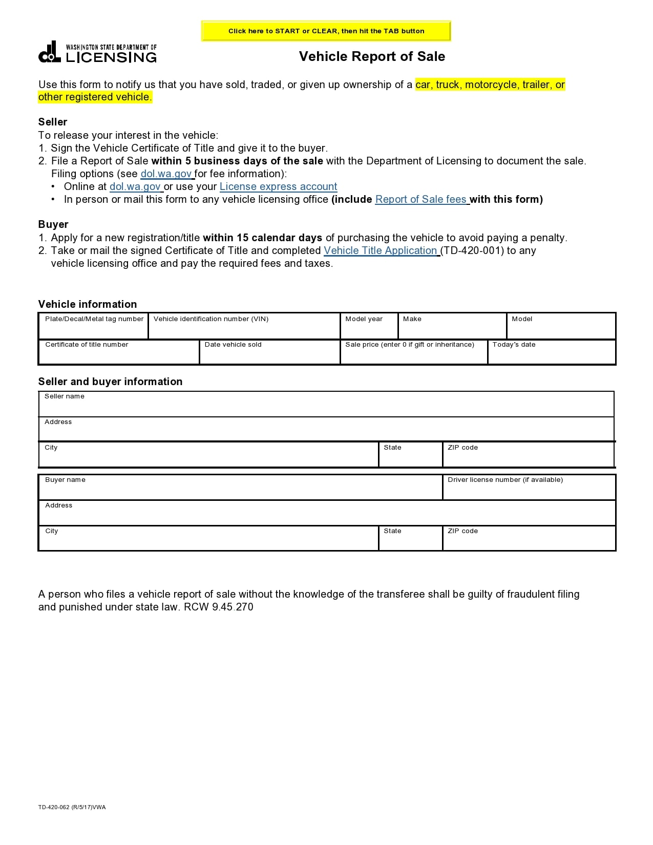 bill of sale for trailer 33