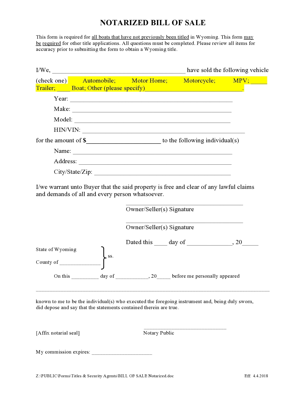 bill of sale for trailer 39
