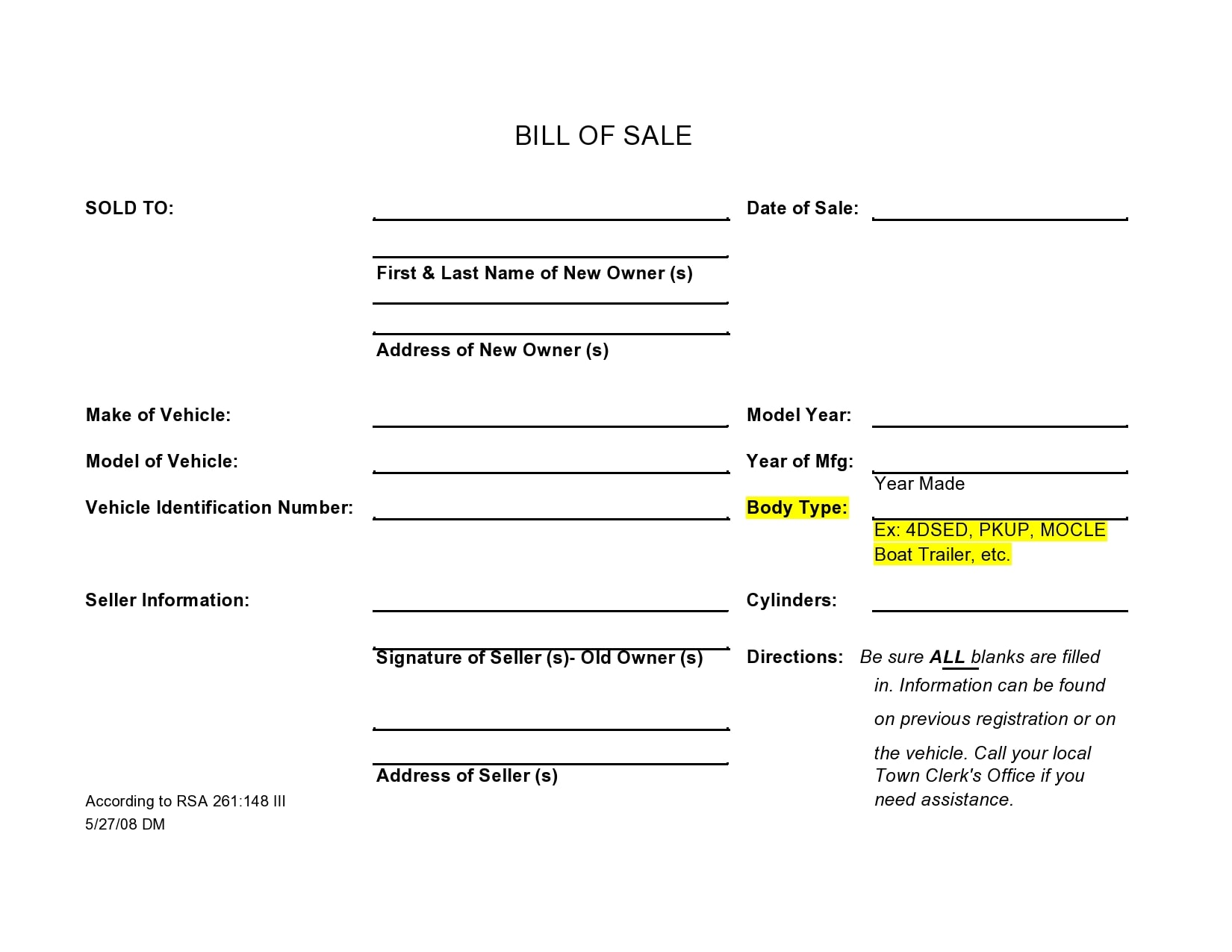 bill of sale for trailer 41