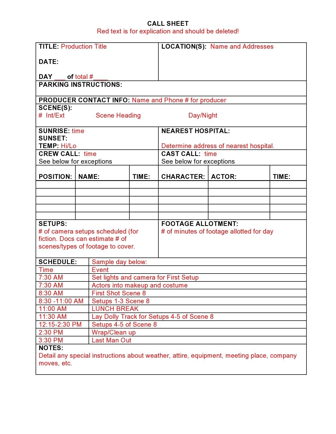 call sheet template 04