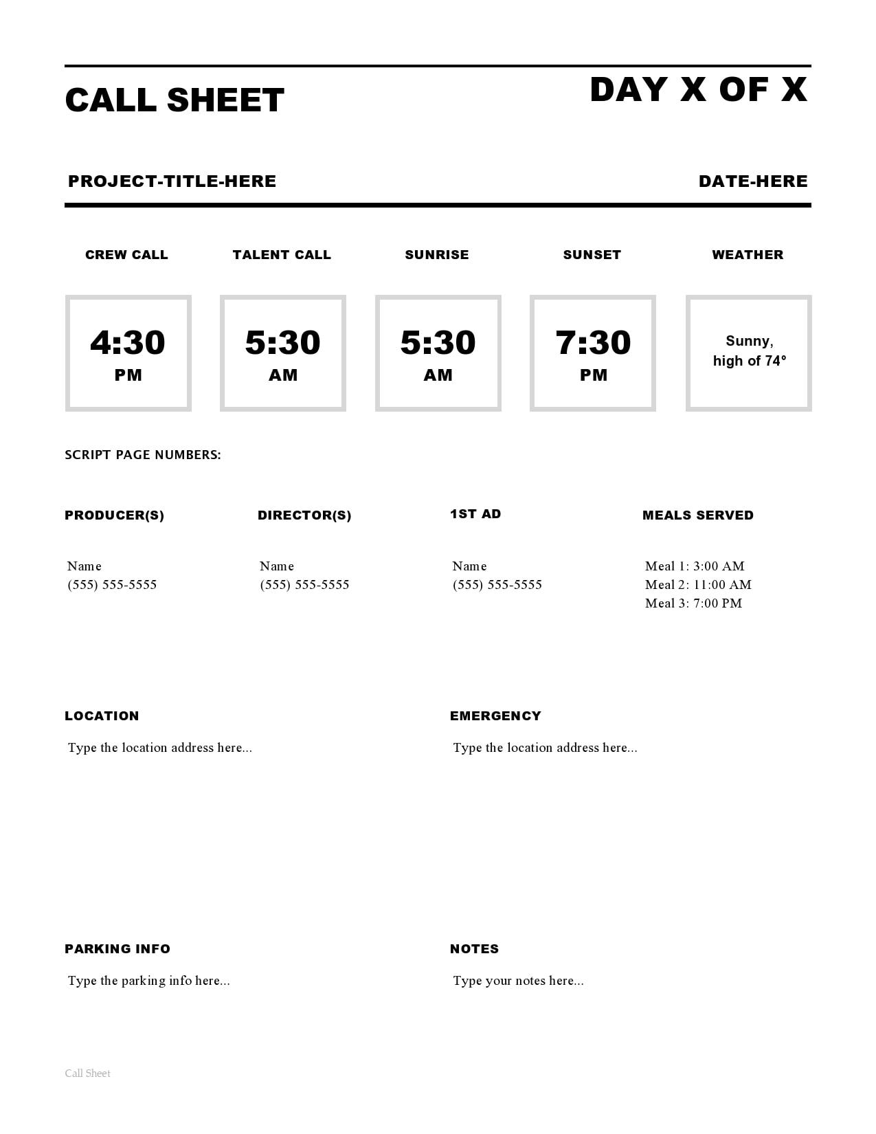 call sheet template 12