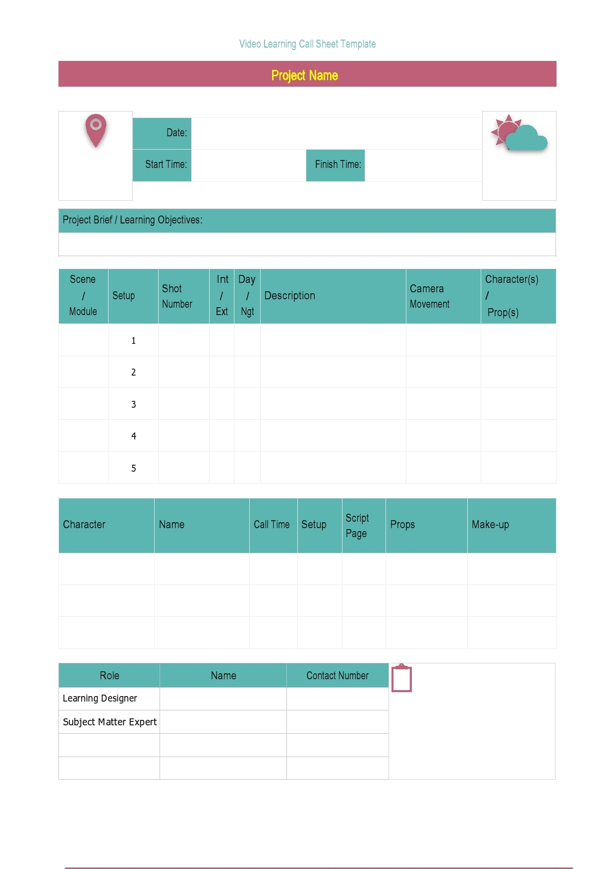 call sheet template 13