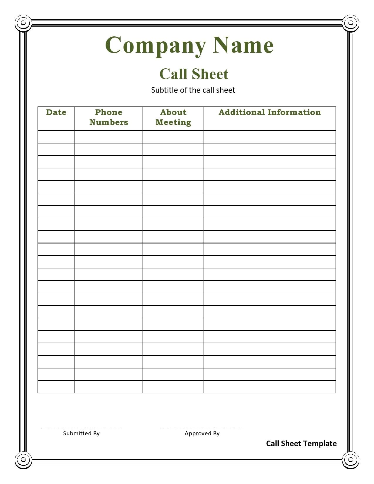 call sheet template 19