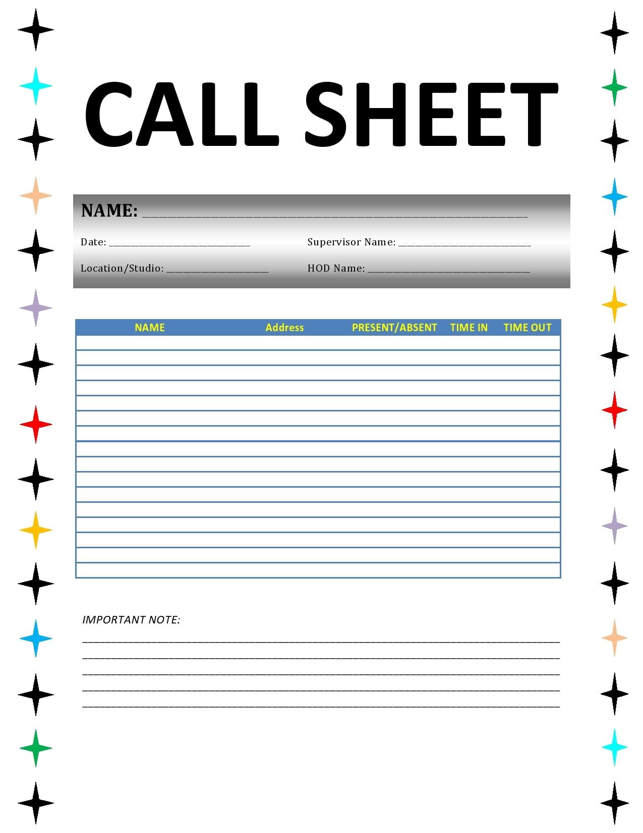 call sheet template 20