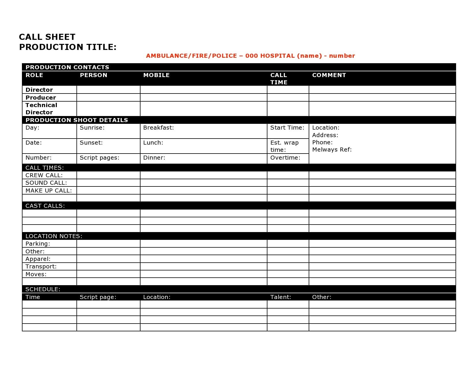 call sheet template 30