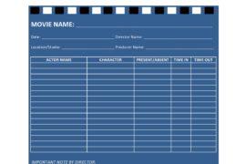 call sheet template 31