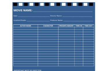 call sheet template 31