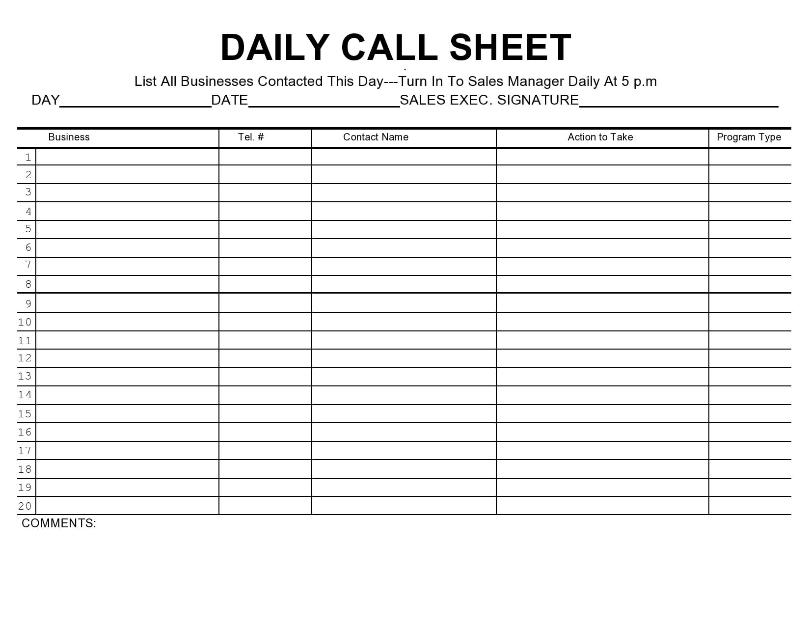 call sheet template 37