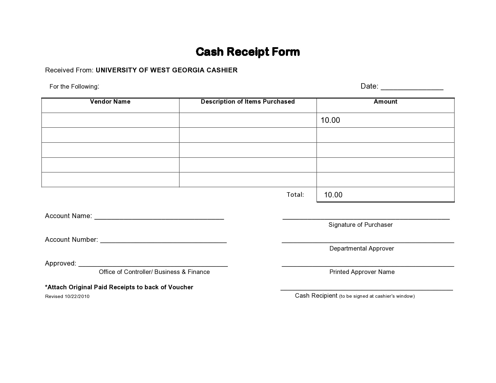 cash receipt 18