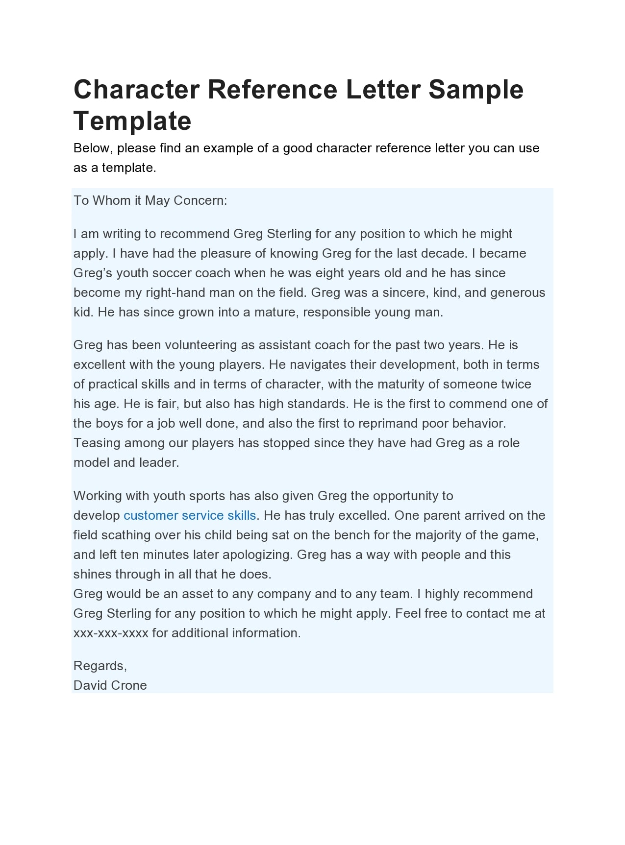 Sample Child Custody Character Reference Letter from templatearchive.com