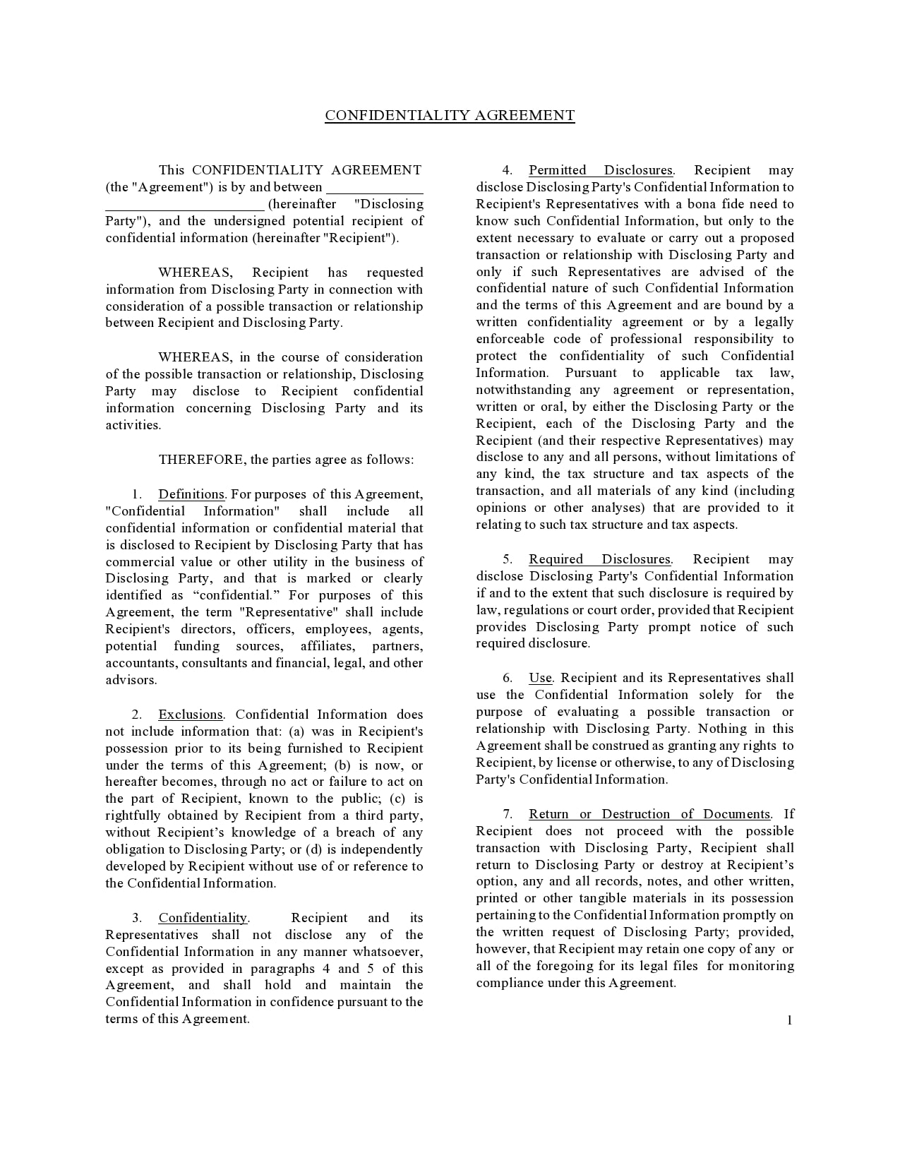 confidentiality agreement template 03