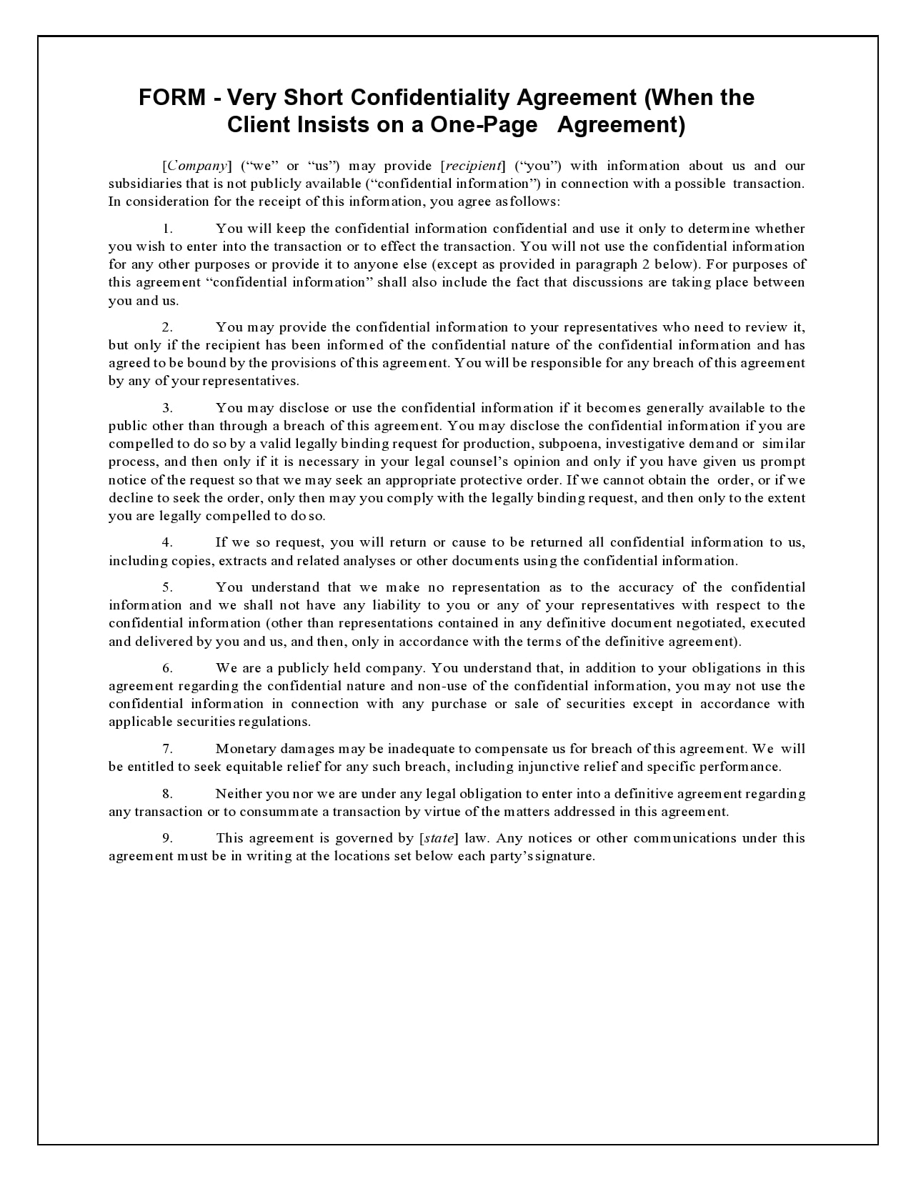 confidentiality agreement template 07