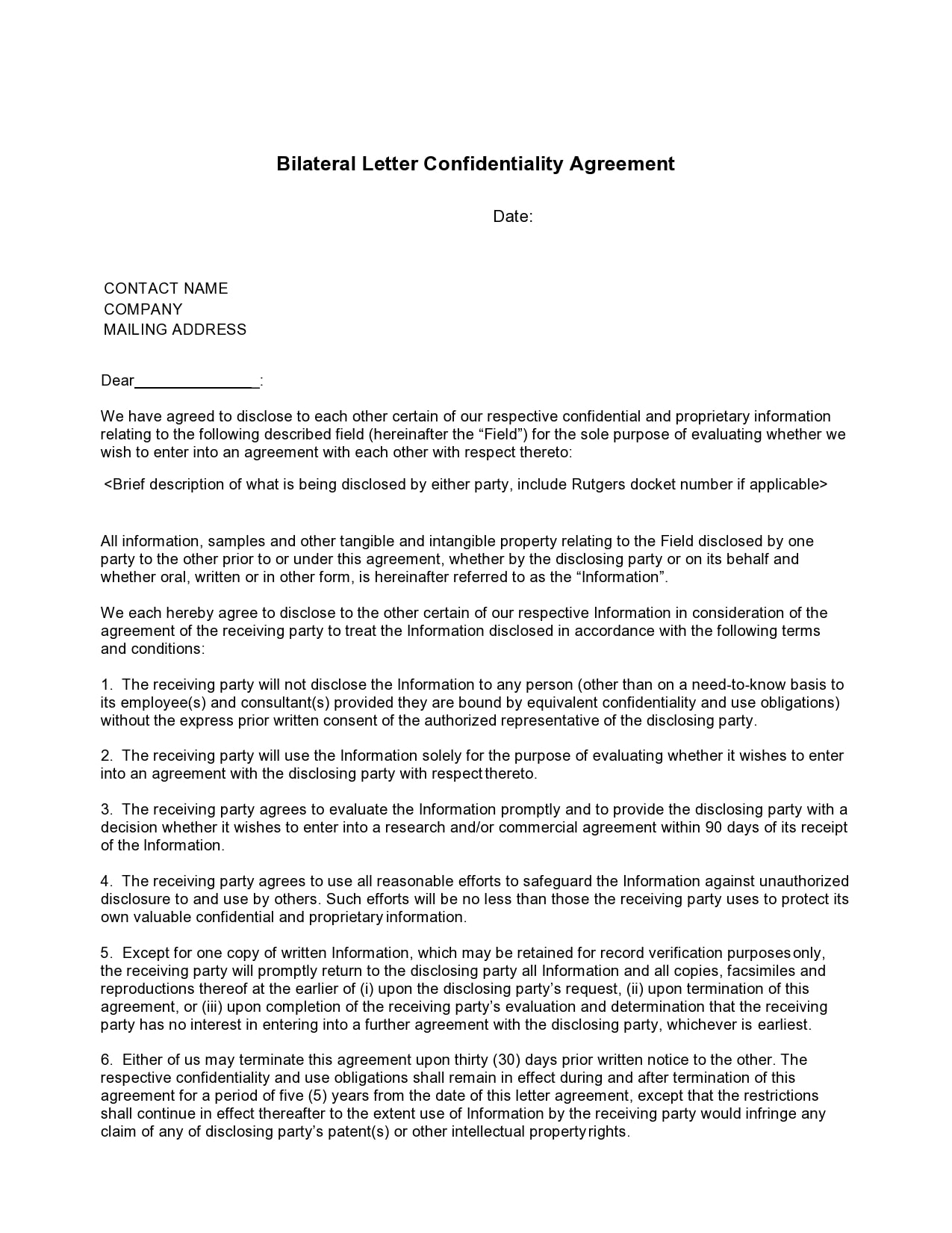 confidentiality agreement template 14