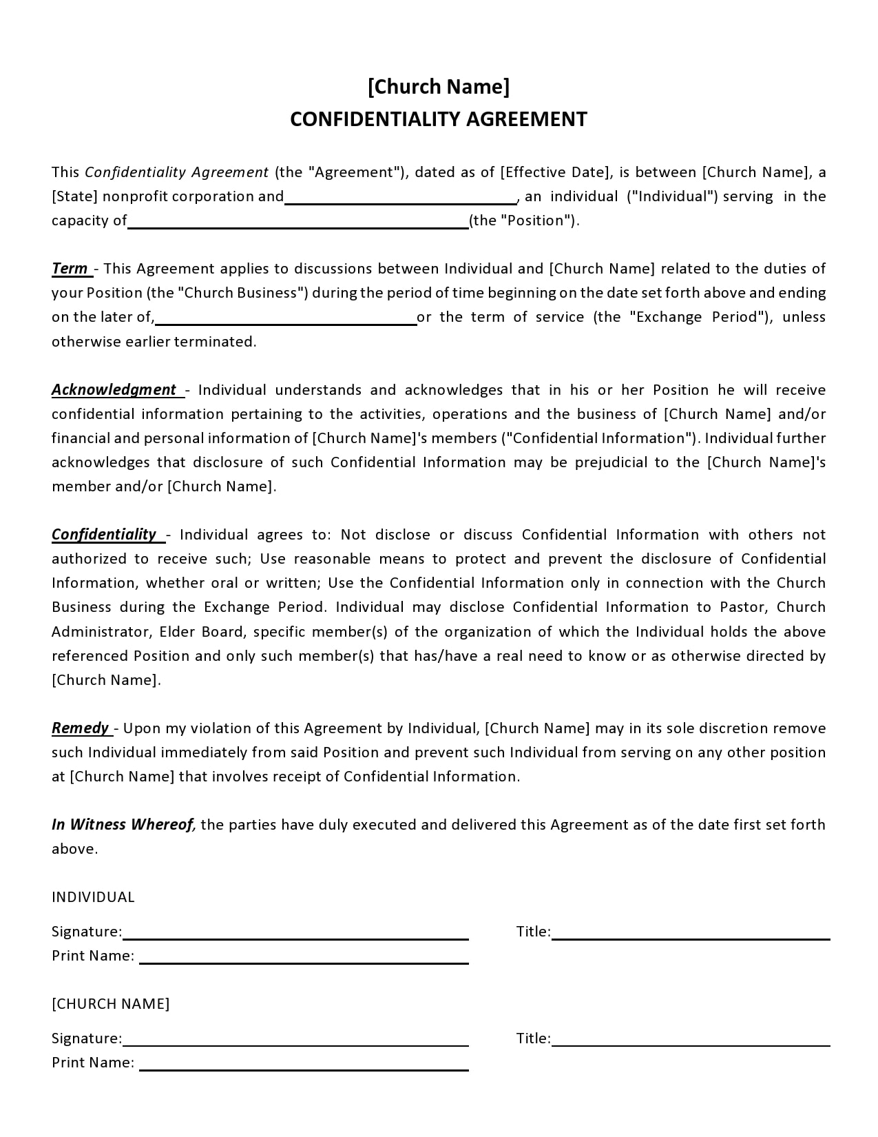 confidentiality agreement template 18