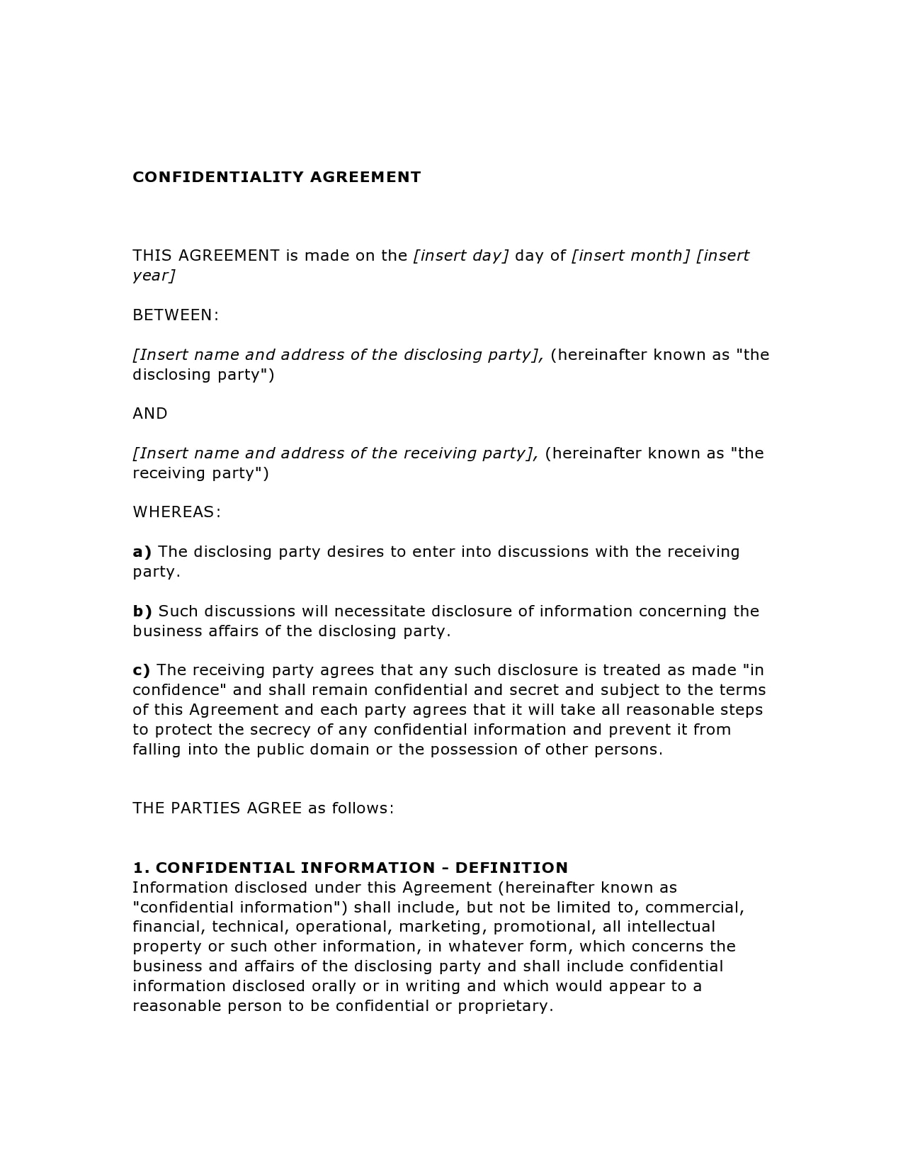 confidentiality agreement template 20