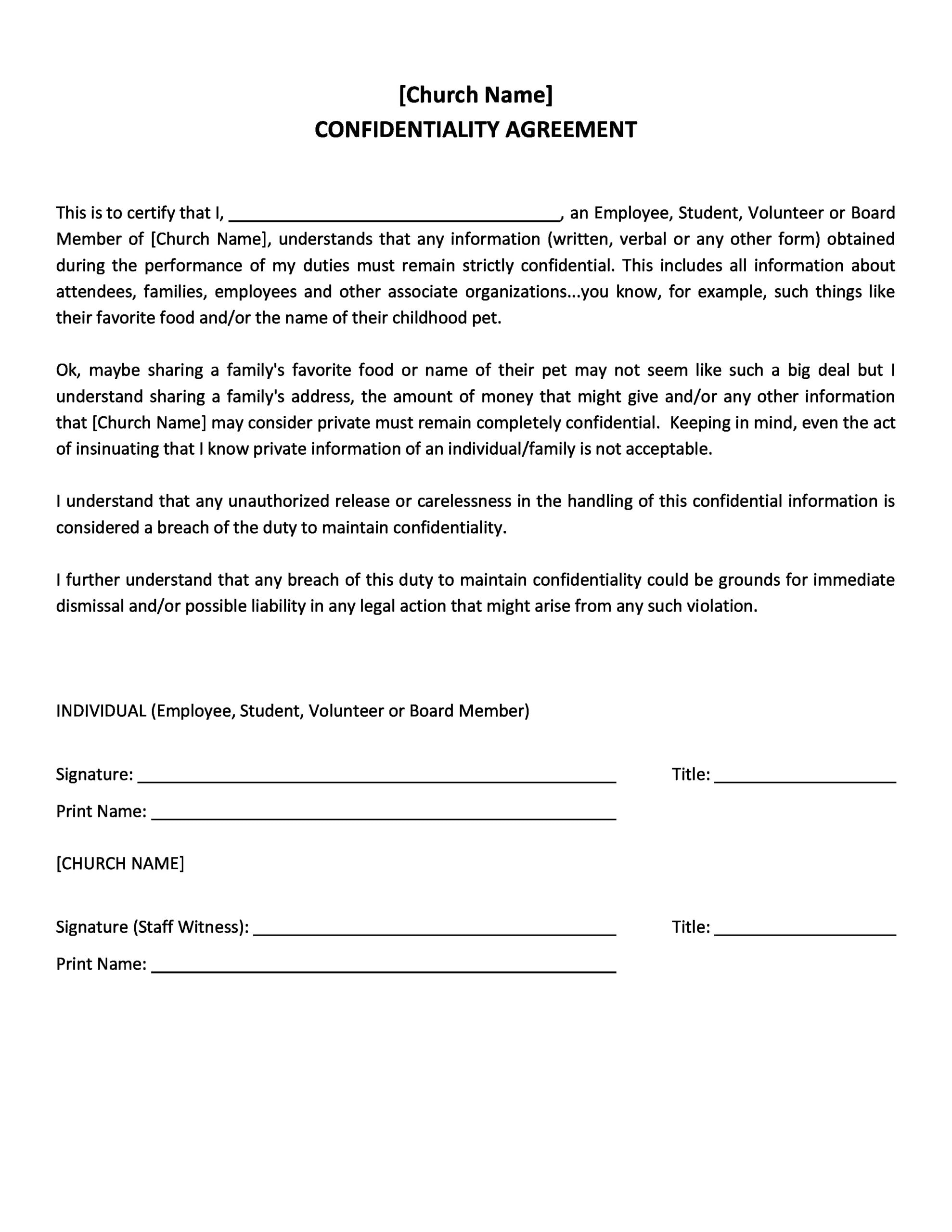 confidentiality agreement template 25