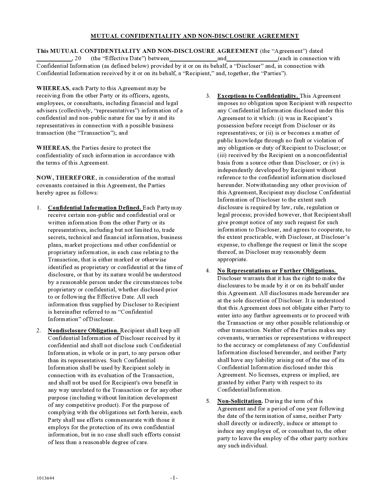 confidentiality agreement template 27