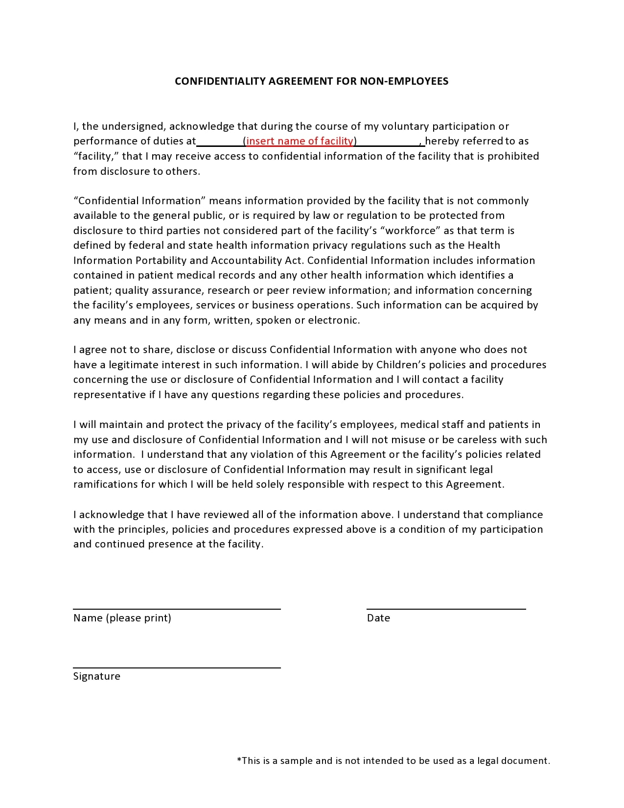 confidentiality agreement template 30