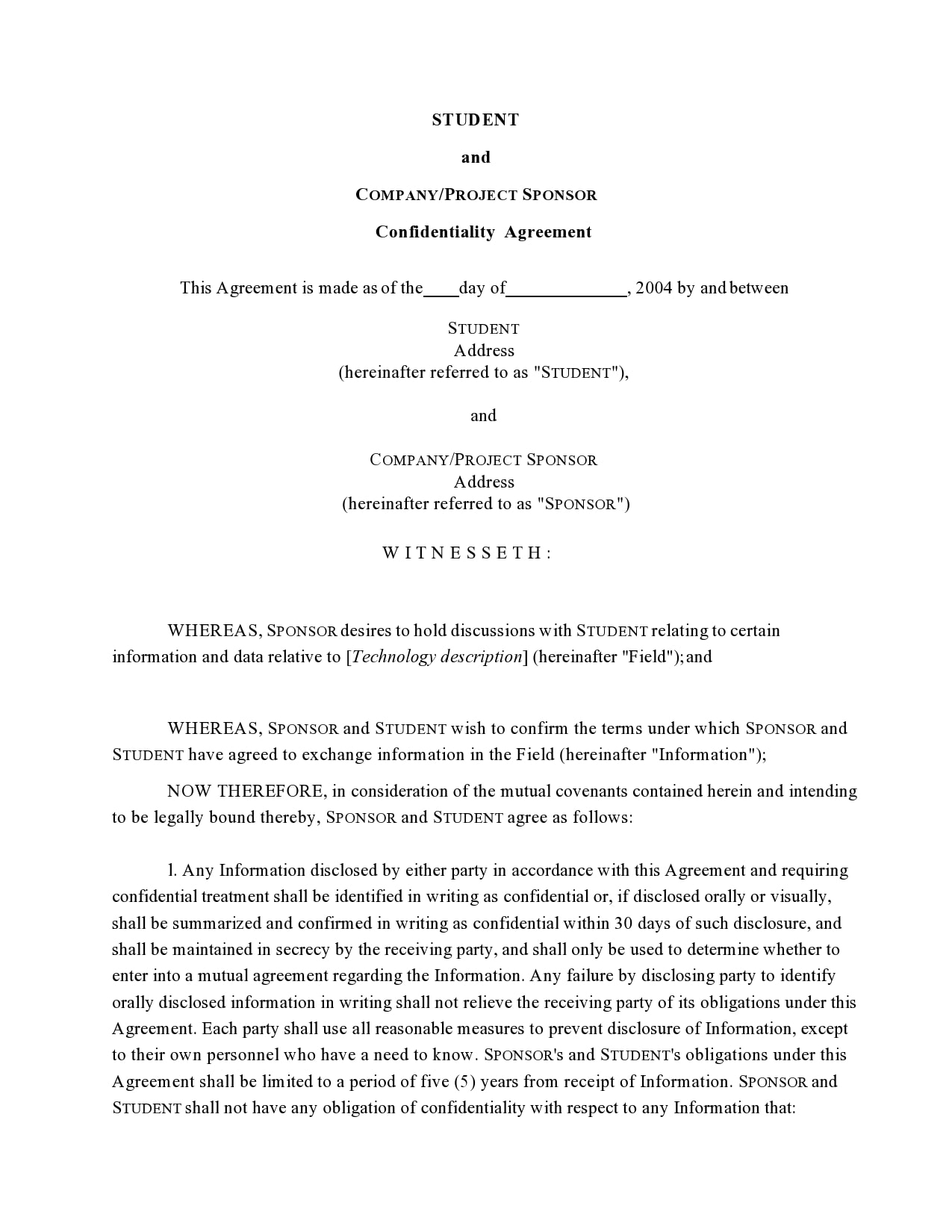 confidentiality agreement template 33