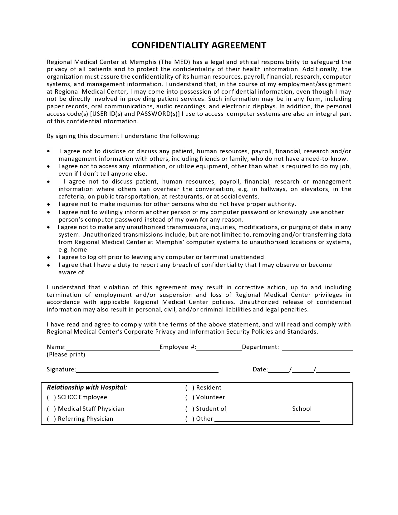 confidentiality agreement template 34