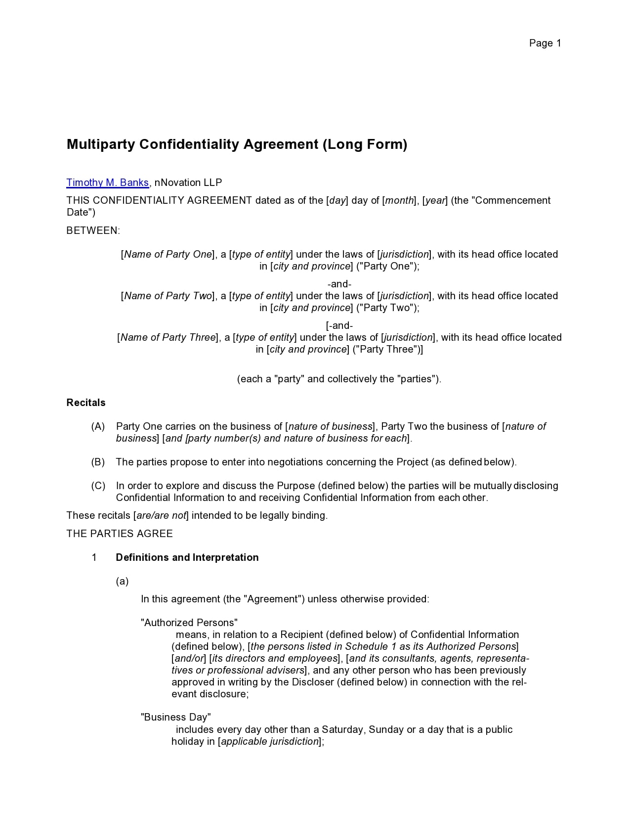 confidentiality agreement template 36