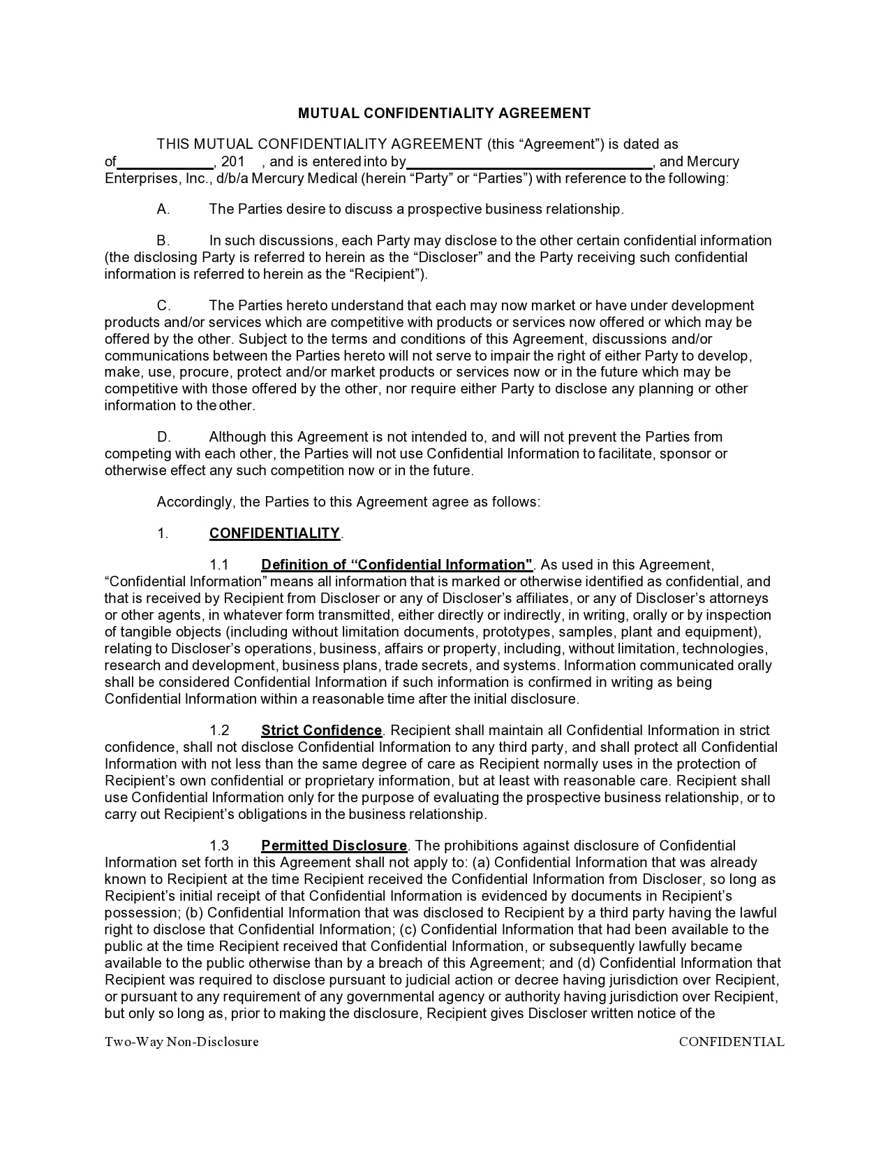 confidentiality agreement template 37