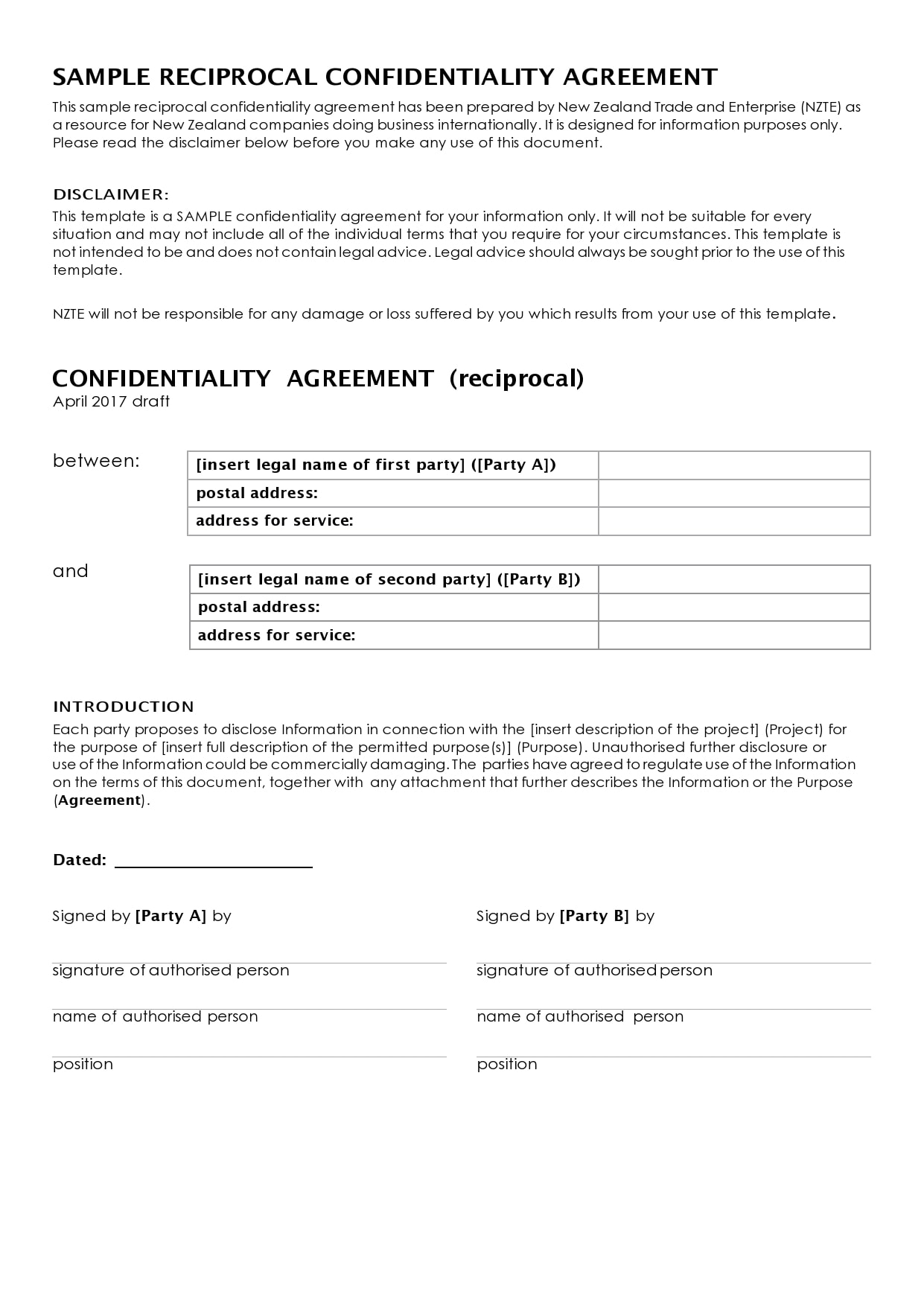 confidentiality agreement template 38