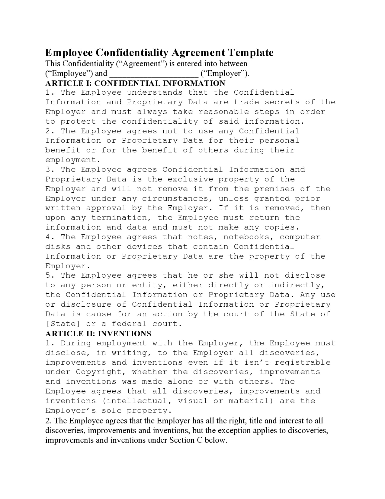 confidentiality agreement template 41