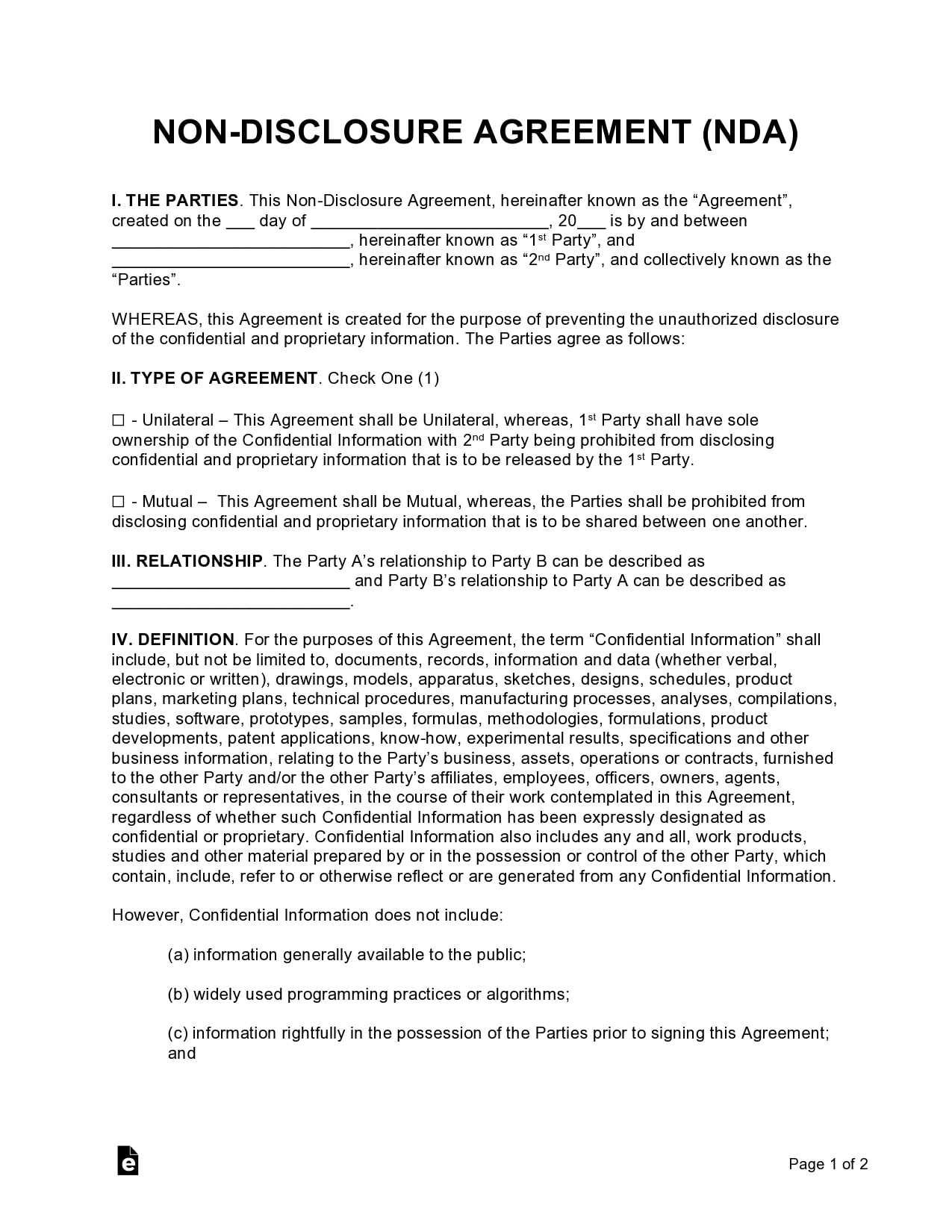 confidentiality agreement template 43