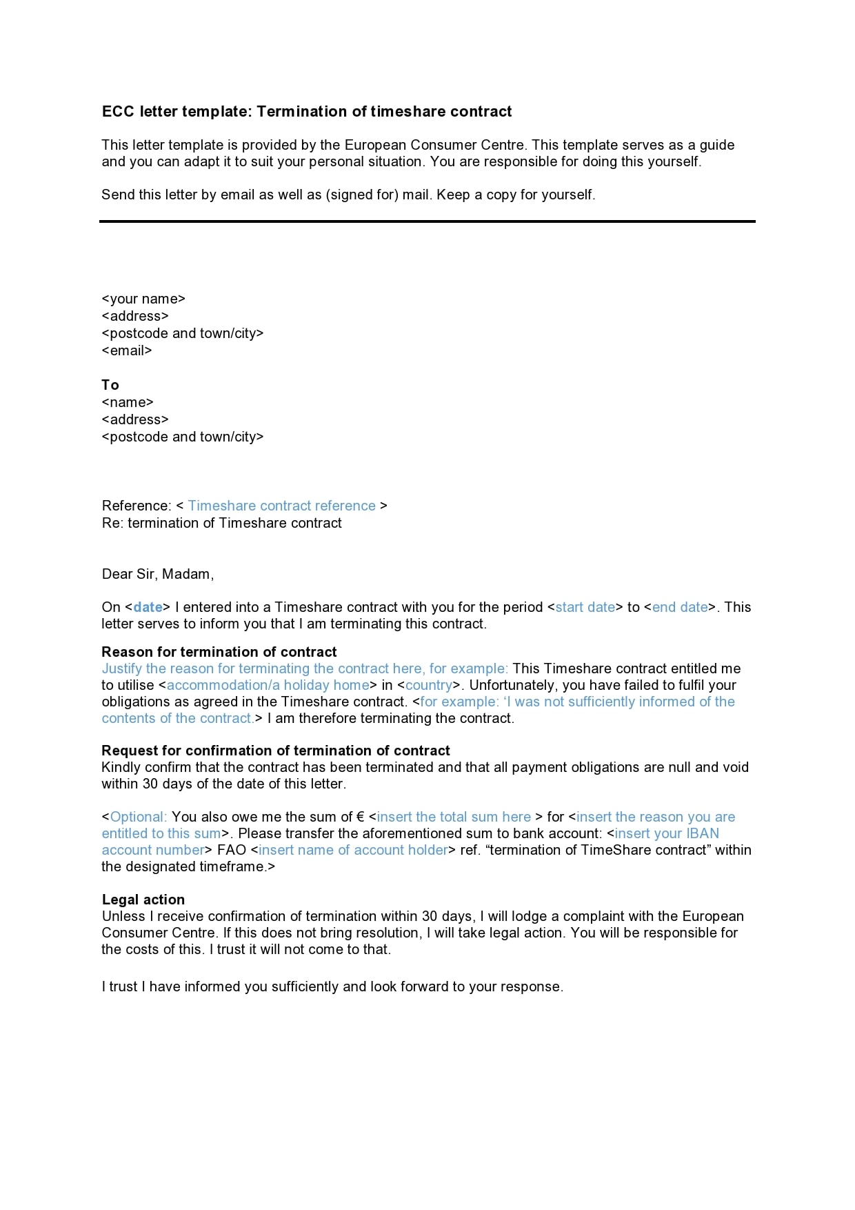 Timeshare Cancellation Letter Template from templatearchive.com