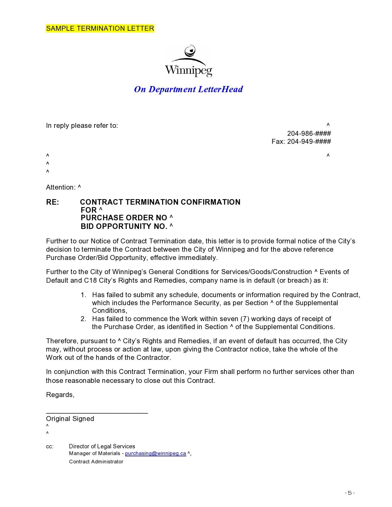 contract termination letter 06
