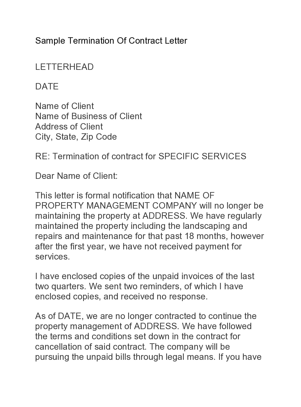 contract termination letter 40