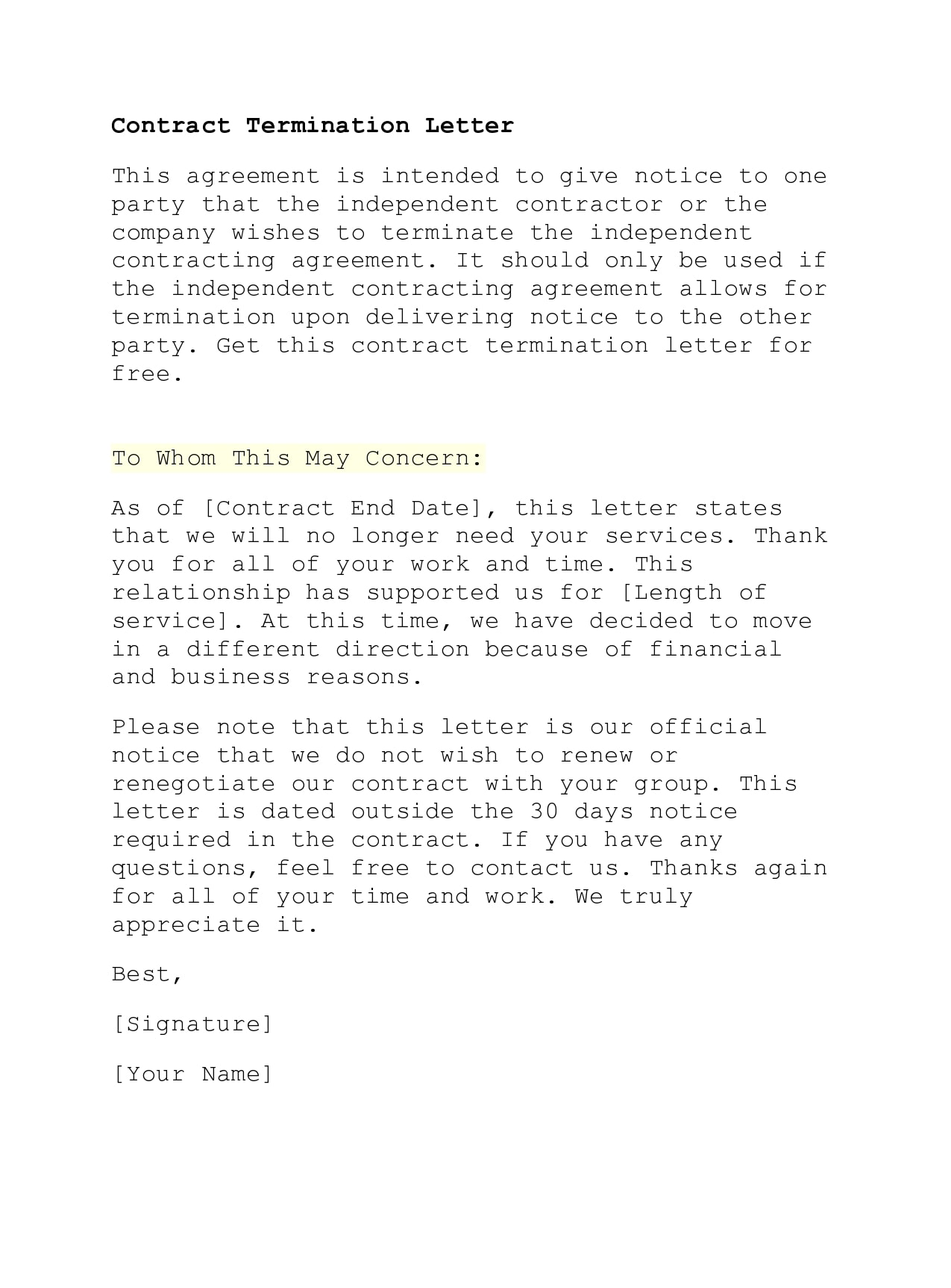 contract termination letter 42