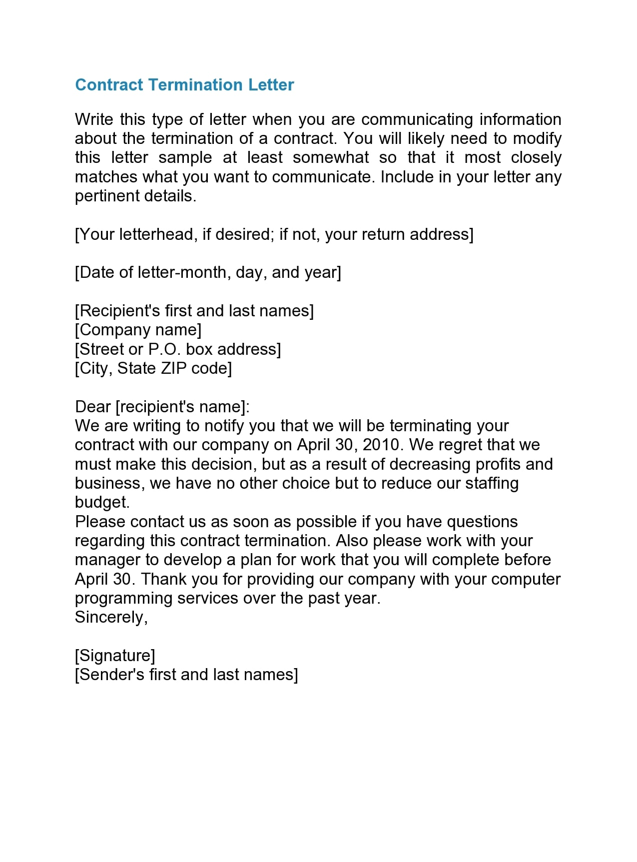 contract termination letter 43